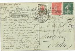 SEMEUSE 50C+10C CARTE BREST 1926 POUR SUISSE TAXE 15C LAUSANNE - Postmark Collection (Covers)
