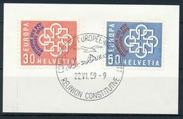 349-350 / 681-682 Europäische PTT-Verwaltungen Konferenz 1959 Serie Auf Ausschnitt Mit ET-Stempel - Covers & Documents