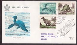 YN102   San Marino, Circuled Card FDC 1965  Dinosaur Prehistoric Animals - Preistoria