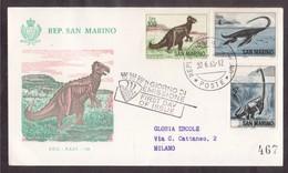 YN103   San Marino, Circuled Card FDC 1965  Dinosaur Prehistoric Animals - Preistoria