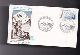 Eneloppe Philatélique : 1ER JOUR Du Timbre  Bicentenaire De La Première Ascension  Du MONT BLANC 74 CHAMONIX - Autres Collections