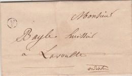 Lettre 1854 Sans Marque Postale Ni Taxe Cachet A Boite Rurale Les Fonts Pour La Voulte Ardèche  Demande Saisie Charrette - 1849-1876: Période Classique