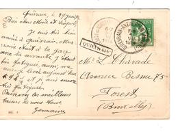 PR6380/ TP 110 S/CP Fantaisie C.Ambulant Quiévrain-Antwerpen(Anvers) 1914 + Griffe Quiévrain V.Forest C.d'arrivée - Postmark Collection