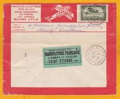1924 - Enveloppe Par Avion Précurseur Lignes Aériennes Latécoère De Casablanca Maarif Vers Saint Etienne, France - Morocco (1891-1956)
