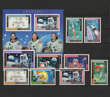 Grenada 1969 Space, Apollo 11, Set Of 9 + S/s MNH - Raumfahrt