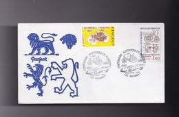 Enveloppe  Philatelique , Exposition Du Centenaire Automobiles PEUGEOT 25 SOCHAUX 6 Octobre 1990 - Autres Collections