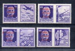 Italia - 1944 - Repubblica Sociale - Propaganda Di Guerra Sovrastampati - 4 Valori - Nuovi - Linguellati - (FDC14420) - 4. 1944-45 Repubblica Sociale