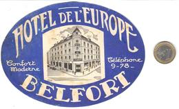 ETIQUETA DE HOTEL  - HOTEL DE L'EUROPE  -BELFORT  -FRANCIA - Etiquetas De Hotel