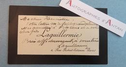 CDV Auguste LAGUILLERMIE Peintre & Graveur Aquafortiste à Henriette Vincens Fille De Bouguereau Carte Visite Autographe - Autographes