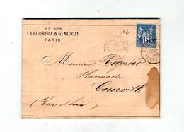 Lettre Cachet Paris Sur Sage + Convoyeur Paris à Chartres Entete Maison Gendrot Fourniture Medecine Photographie - Marcophilie (Lettres)