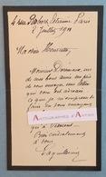 L.A.S 1911 Auguste LAGUILLERMIE Peintre Graveur -à Henriette Vincens Fille De Bouguereau - Dorémieux - Lettre Autographe - Autographes