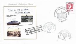 Env Fdc France, 25/3/2005 Nantes, Les Voyages Extraordinaires De Jules Verne, Transporté En TGV,  Ballon, Montgolfière, - Ecrivains