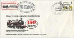 STAMPS - 1980 RAILWAYS FDC - WORTH VALLEY RAILWAY POSTMARK - 1971-1980 Decimal Issues