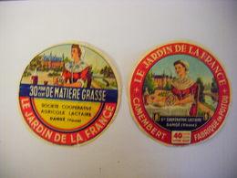 ETIQUETTE FROMAGE LE JARDIN DE LA FRANCE SOCIETE COOPERATIVE AGRICOLE LACTAIRE DE DANGE VIENNE X 2 - Cheese