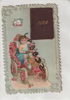 CPA - DENTELLE - FANTAISIE - CHROMO - ENFANT - AUTOMOBILE - Avec Un Petit Agenda 1909 - RARE - New Year
