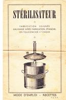 FRANCE STERILISATEUR Mode D'emploi Et Recettes - Vieux Papiers
