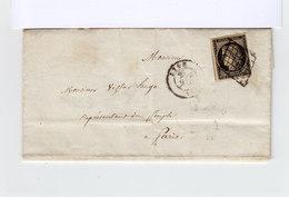 LAC Adressé à Victor Hugo Représentant Du Peuple N°3 Céres 20 C. Noir Jaune Obl. Grille CAD Lyon 1850 Et Paris. (1186x) - 1849-1876: Classic Period