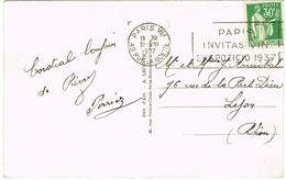 FRENCH ESPERANTO SLOGAN POSTMARK ON PARIS POSTCARD ARC DE TRIOMPHE - Esperanto