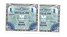 Allemagne Germany Deutschland 1 Mark 1944 Serial 9 Digit -  2 Consecutives UNC / NEUF - Non Classés