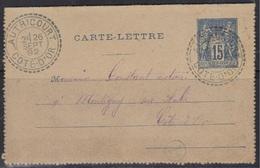 Autricourt (Cote D'Or) : Timbre à Date Des Facteurs-boitiers Sur CL, 1892. - Marcophilie (Lettres)
