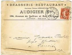 ENVELOPPE  A EN-TETE BRASSERIE RESTAURANT AUDIGIER S PARIS - Marcophilie (Lettres)