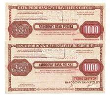 Pologne Poland CZEK PODROZNICZY Travellers Cheque 1000 Zlotych 1989 - 2 Consecutives - Pologne