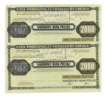 Pologne Poland CZEK PODROZNICZY Travellers Cheque 2000 Zlotych 1989 - 2 Consecutives - Pologne