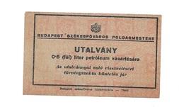 "Hongrie Hungary Ungarn - Ticket 1940 UNC "" 1/2 Liter Petrol "" BON - UTALVANY - Hongrie"
