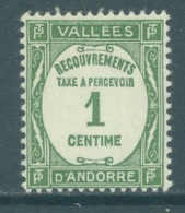 ANDORRE - MNH/** - 1935 - RECOUVREMENT 1 CENT  - Yv TX 16  -  Lot 19138 - Neufs