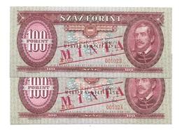 "Hongrie Hungary Ungarn 100 Forint 1968 UNC  """"  MINTA  """"  SPECIMEN - 2 Consecutives # 1 - Hongrie"