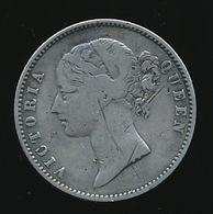 VICTORIA QUEEN 1840  SILVER ONE RUPEE 2 SCANS - India