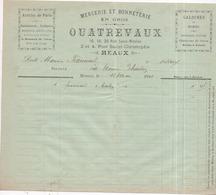 77 MEAUX - Galoches Mercerie Et Bonneterie En Gros QUATREVAUX, 16 Rue Saint-Nicolas - Facture 12 Mai 1910 - Meaux