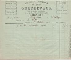 77 MEAUX - Galoches Mercerie Et Bonneterie En Gros QUATREVAUX, 16 Rue Saint-Nicolas - Facture 1er Octobre 1910 - Meaux