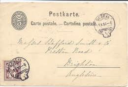 SUISSE 1884, Genève Cachet Appelé Anse, Queue Ou Sac, Entier Postal Affranchi Avec Type Chiffre Pour Brighton Angleterre - Marcofilie