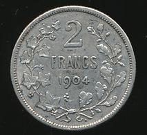 LEOPOLD II  2 FRANCS 1904     2 SCANS - 1865-1909: Leopold II