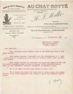Algérie Facture Lettre Illustrée 16/11/1944 MELKI Au Chat Botté Chaussures Bas Chaussettes CONSTANTINE à Clairet Vienne - Factures & Documents Commerciaux