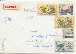 Czechoslovakia Cover Sent Express To Germany 1973 With More Topic Stamp - Czechoslovakia
