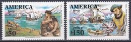 Chile 1991 Amerika UPAEP Entdeckungen Discovery Seefahrt Seefahrer Magellan Schiffe Ships Ureinwohner, Mi. 1470-1 ** - Chili