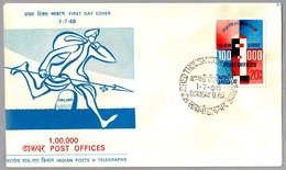 100.000 OFICINAS DE CORREOS - 100.000 POST OFFICES. SPD/FDC Bombay, India, 1968 - Correo Postal
