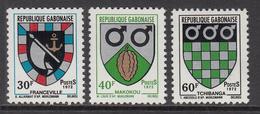 1972 Gabon Gabonaise Coats Of Arms Cacao Chocolate  Complete Set Of 3 MNH - Gabun (1960-...)