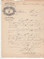 Algérie Facture Lettre Illustrée 12/10/1882 G PICON Amer Picon BÔNE  à Got Revel - Factures & Documents Commerciaux