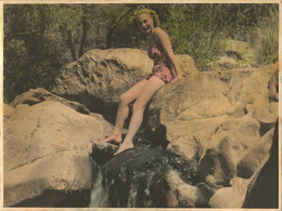 PIN UP WOMEN FEMMES - Vintage 1950s Sexy Woman Femme Model S Nude Nu In Swimsuit On A Rocks Big Photo 24 X 18 - Pin-Ups