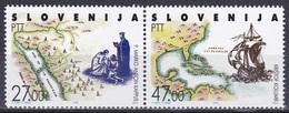 Slowenien Slovenia 1992 Europa CEPT Entdeckungen Amerika Kolumbus Columbus Kappus Missionare Religion, Mi. 20-1 ** - Eslovenia