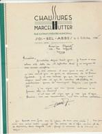 Algérie Facture Lettre 2/10/1945 Marcel HUTTER Chaussures SIDI BEL ABBES à Clairet Vienne - Factures & Documents Commerciaux