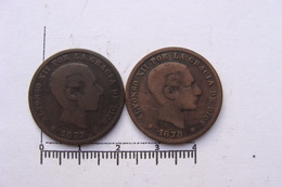 Lot De 2 Monnaies 5 Centimos Alfonso XII (&26) - [ 1] …-1931 : Royaume