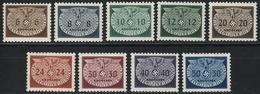 Dienstmarken 16-24 Kleinformat, Satz Komplett ** Postfrisch - Besetzungen 1938-45
