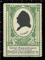 Old German Poster Stamp Cinderella Reklamemarke Erinnofili Publicité Vignette Johann Sebastian Bach Composer, Organ - Music