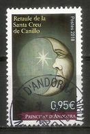 Nadal 2018. / NOËL 2018. Retable Église Sainte Croix De Canillo, Un Timbre Oblitéré, 1 ère Qualité - Andorre Français