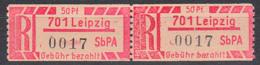 DDR Einschreibemarken  1Ax ** 701 Leipzig, Zusammenhängend, R-Zettel Lfd. Nr. 0017, Postfrisch - Ungebraucht