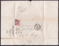 BAMBERG BAHNH Bayern Faltbrief Mit 3 Kr. Geschnitten 24.3.1868 Nach Fürth, Mühlradst. Nr. 32 - Bavaria